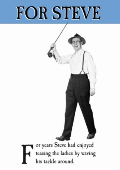 Personalised Fly Fishing Waving His Kit Around Card