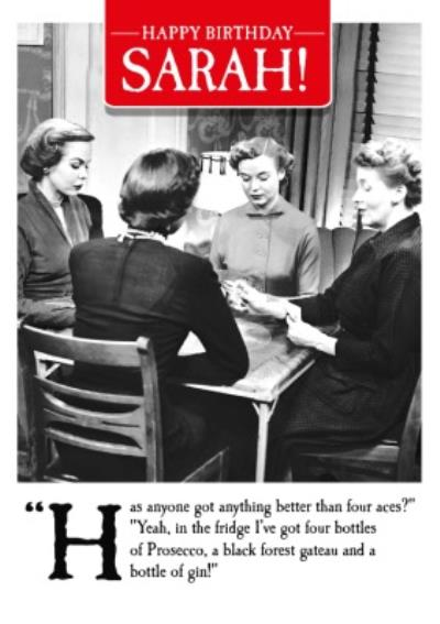 Funny humour comedy retro Birthday Card for Her Four Bottles of Prosecco