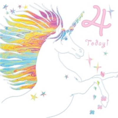 Milticoloured Unicorn Stars 4 Today Birthday Card