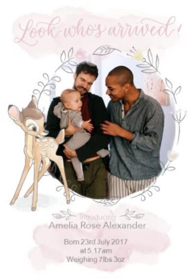 Disney Bambi - New baby Card - Photo upload