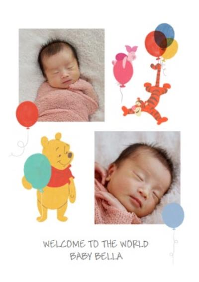 Cute Disney Winnie The Pooh and Tigger Photo Upload New Baby Card