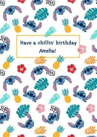 Disney Luxe Have A Chillin Birthday Stitch Pattern Card