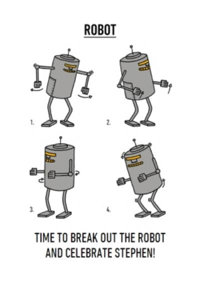 Video Game Dance Moves Robot Birthday Card
