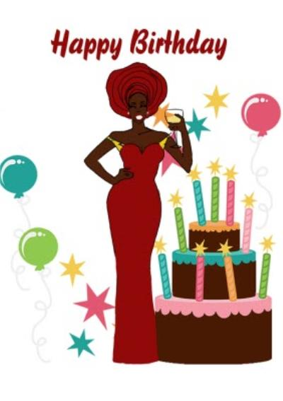 Illustrated Woman And Large Cake With Candles Birthday Card