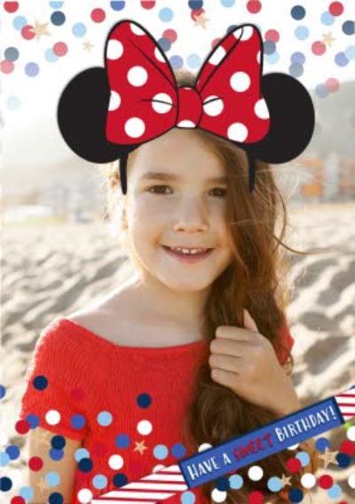 Disney Minnie Mouse Ears Birthday Photo Upload Card