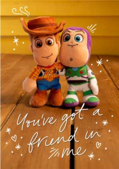 Cute Disney Plush Toy Story Woody And Buzz Friend in Me Thinking of you Card