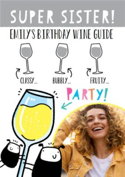 Illustrated Wine Guide Photo Upload Sister Birthday Card