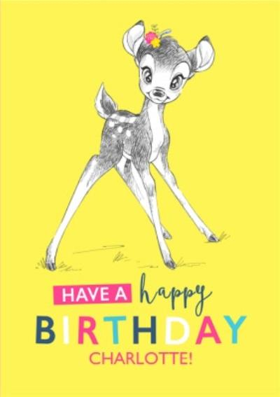 Disney Sketch Bambi Birthday Card