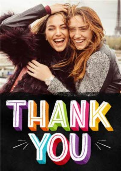 Bright Block Letters Thank You Photo Card