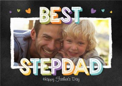 Bright Chalk Lettering Best Step Dad Father's Day Photo Card