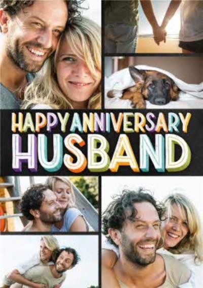 Husband Anniversary Photo Upload Card - Happy Anniversary Chalkboard typography hand lettering