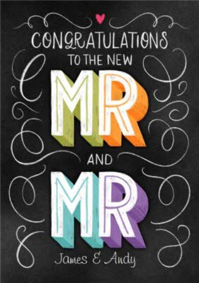 Wedding Day Card Congratulations to the new Mr and Mr