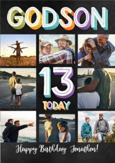 Godson 13th Multi Photo Upload Birthday Card