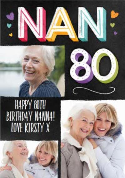 Nans 80th Typographic Photo Upload Birthday Card