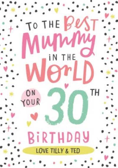 Cute Typographic Customisable Mummy Birthday Card