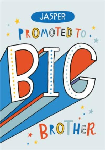Cute Colourful Lettering New Baby Brother Male Arty Card