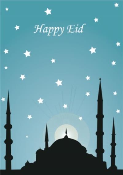 Starry Skyline Happy Eid Card
