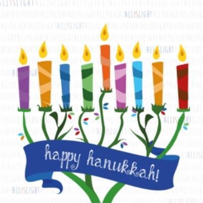 Happy Hanukkah Colourful Candles Card