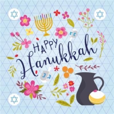 Happy Hanukkah Colourful Floral Card