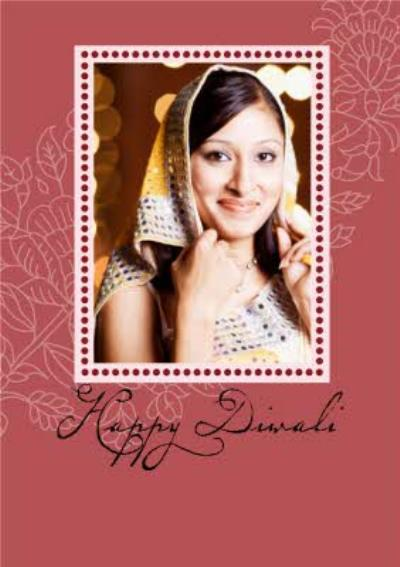 Maroon Personalised Happy Diwali Photo Upload Card