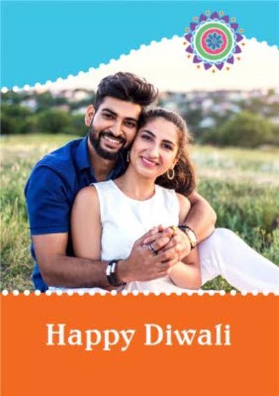 Bright Blue And Orange Happy Diwali Photo Card