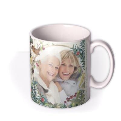 Floral Christmas Personalised Text And Photo Mug