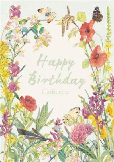 Summer Flowers Personalised Happy Birthday Card