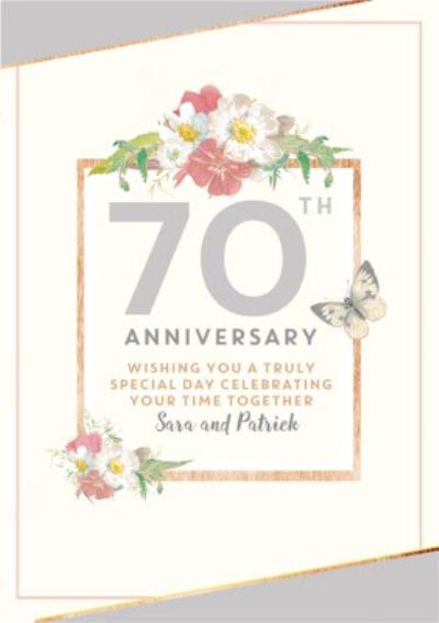 Traditional 70th Anniversary card, Wishing you a truly Special Day