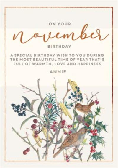 Edwardian Lady On Your November Birthday Card