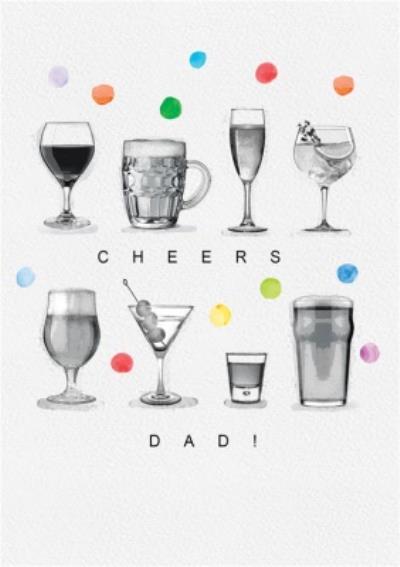 Cheers Dad Beer Wine Polka Dots Card