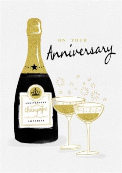 On Your Anniversary Champagne Bubbles Card