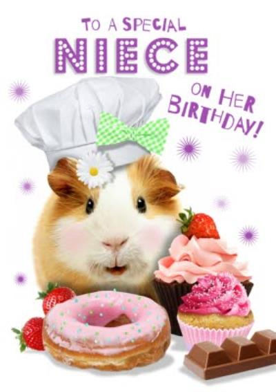 To A Special Niece Cute Guinea Pig Birthday Card