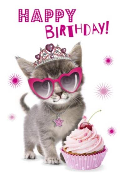 Cute Princess Kitten With A Cupcake Birthday Card