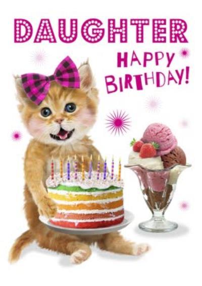 Cute Kitten Holding Birthday Cake Daughter Birthday Card