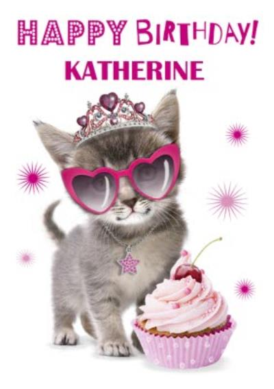 Cute Kitten With Cupcake And Sunglasses Personalised Card
