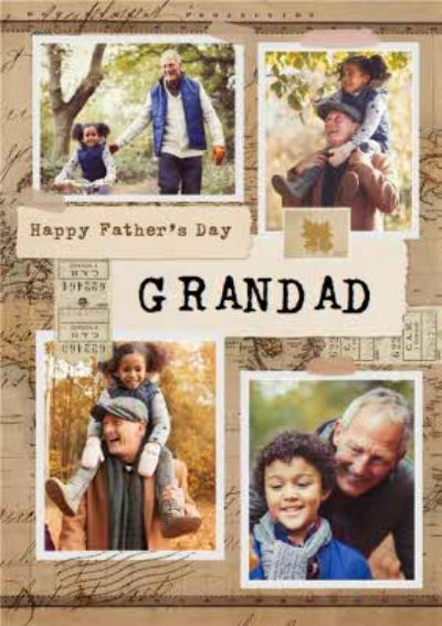 Photographic Map Photo Upload Father's Day Card For Grandad