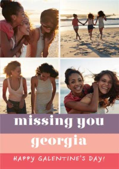 Photo Upload Missing You Best Friend Galentine's Day Card
