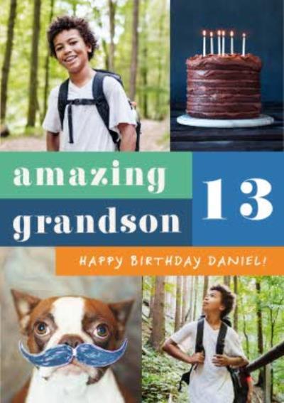 Euphoria Photo Upload Amazing Grandson Birthday Card