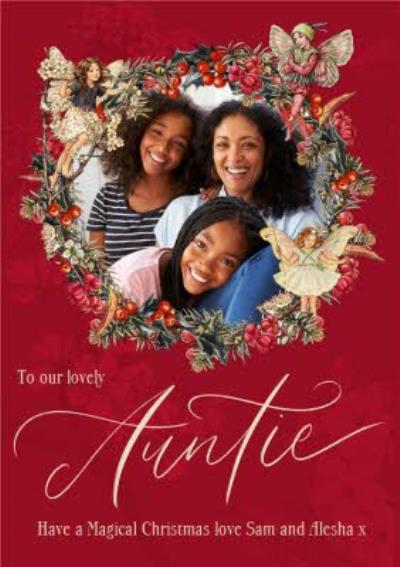 Flower Fairies Lovely Auntie Photo Upload Wreath Christmas Card