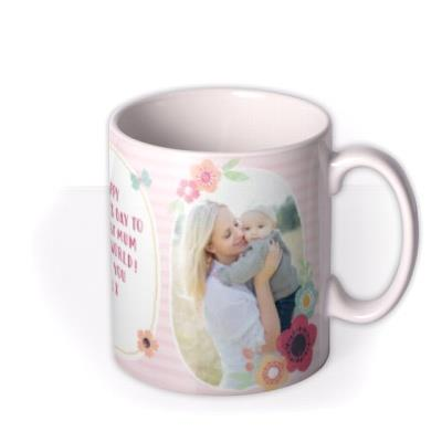 Pink Stripes And Flowers Photos Personalised Mug