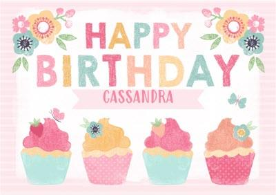 Colourful Cupcakes Happy Birthday Personalised Name Card
