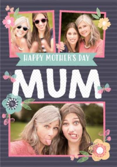 Pastel Flowers Multi-Photo Personalised Mother's Day Card