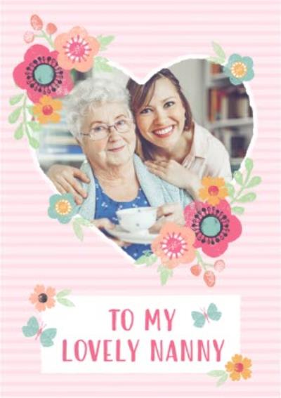 Striped And Flower Design To My Lovely Nanny Mothers Day Photo Card