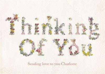 Floral Lettering Thinking Of You Personalised Card