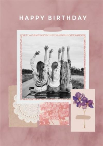 Happy Birthday Instant Photo Flower Personalised Birthday Card