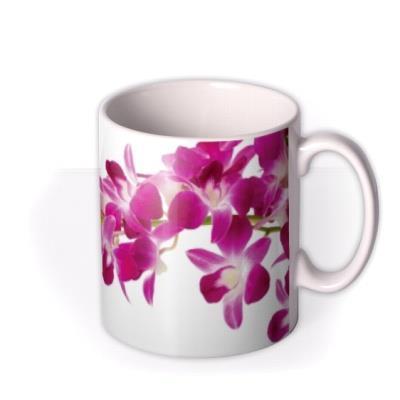 Orchid Print Personalised Text Mug