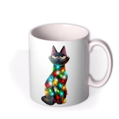 Folio Illustration Of Two Cats Wrapped In Different Coloured Fairy Lights Mug