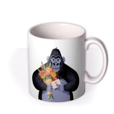 Folio Two Duplicate Illustrations Of A Gorilla Holding A Bunch Of Flowers And A Card Mug