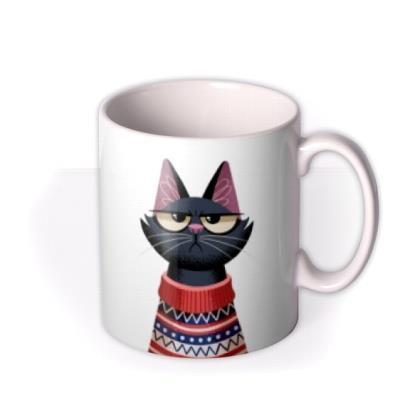Folio Two Duplicate Illustrations Of A Grumpy Cat Wearing A Jumper Mug
