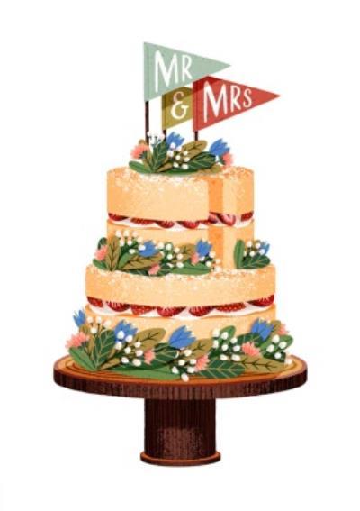 Folio Mr & Mrs Cake Wedding Card